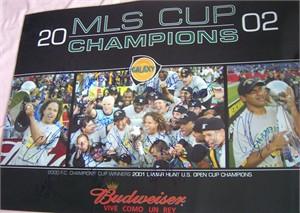 2002 Los Angeles Galaxy Team autographed MLS Champions poster (Kevin Hartman Cobi Jones Alexi Lalas Carlos Ruiz)