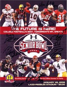2008 Senior Bowl program autographed by 10 players (Cliff Avril Justin Forsett Tom Zbikowski)