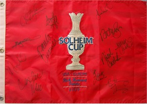 2009 U.S. Solheim Cup Team autographed embroidered golf pin flag (Paula Creamer Natalie Gulbis Michelle Wie)
