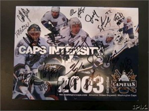 2002-03 Washington Capitals team autographed calendar Peter Bondra Sergei Gonchar Robert Lang Calle Johansson