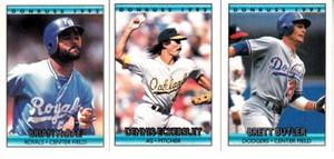 Lot of 3 1992 Donruss Cracker Jack mini baseball cards (Brett Butler Dennis Eckersley Brian McRae)