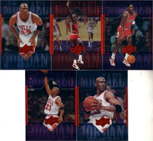 Lot of 5 different Michael Jordan 1999 Upper Deck Athlete of the Century cards MINT