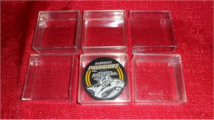 Lot of 6 used hockey puck plastic display case holders