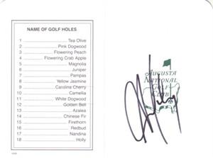 Aaron Baddeley autographed Augusta National Masters scorecard