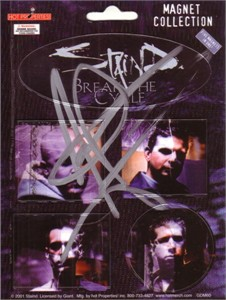 Aaron Lewis autographed Staind 5x7 inch magnet sheet