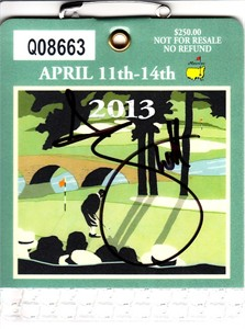 Adam Scott autographed 2013 Masters badge