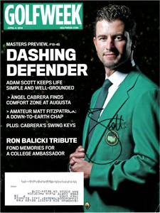 Adam Scott autographed 2013 Masters Golf World magazine