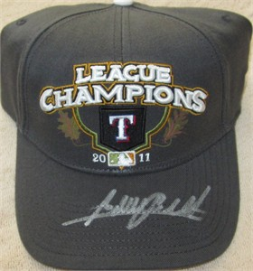 Adrian Beltre autographed Texas Rangers 2011 American League Champions official locker room cap or hat