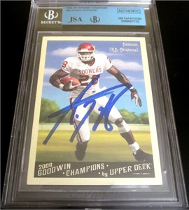 Adrian Peterson autographed Oklahoma Sooners 2009 Upper Deck Goodwin Champions card BGS JSA