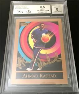 Ahmad Rashad autographed 1990-91 SkyBox Broadcasters card BGS graded 8.5 NrMt-Mt++ (JSA)