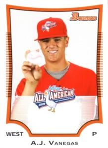 A.J. Vanegas 2009 AFLAC Bowman Rookie Card