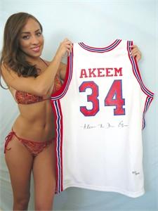 Akeem Olajuwon autographed Houston Cougars authentic throwback jersey #435/1250