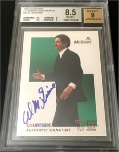 Al McGuire certified autograph Marquette 1992 Courtside Flashback card BGS graded 8.5