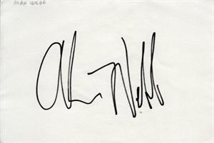Alan Webb autographed index card