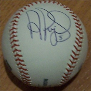 Albert Pujols autographed MLB baseball (side panel)
