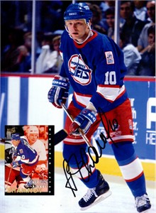 Alexei Zhamnov autographed Winnipeg Jets Beckett Hockey back cover photo