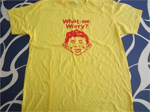 Alfred E. Neuman MAD Cartoon Network promo yellow T-shirt NEW