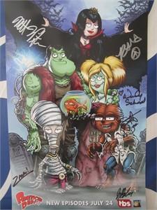 American Dad cast autographed 2017 Comic-Con poster (Dee Bradley Baker Scott Grimes Rachael MacFarlane Wendy Schaal)