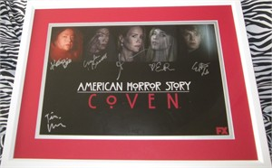 American Horror Story cast autographed 2014 Comic-Con poster matted & framed (Evan Peters Sarah Paulson Kathy Bates)