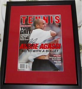 Andre Agassi autographed Tennis Magazine cover matted & framed
