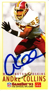 Andre Collins autographed Washington Redskins 1993 McDonald's GameDay card