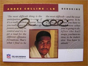 Andre Collins Washington Redskins certified autograph 1991 Pro Line National Convention card