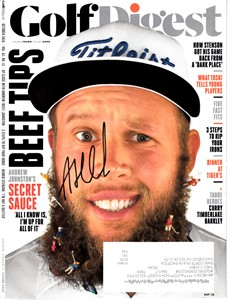 Andrew (Beef) Johnston autographed 2016 Golf Digest magazine cover