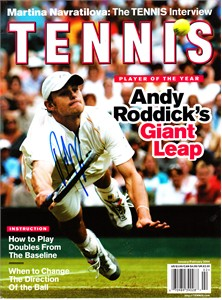 Andy Roddick autographed 2004 Tennis magazine cover