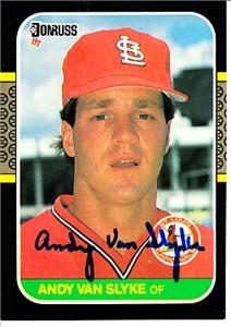 Andy Van Slyke autographed St. Louis Cardinals 1987 Donruss card