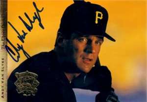 Andy Van Slyke autographed Pittsburgh Pirates 1994 Upper Deck jumbo card