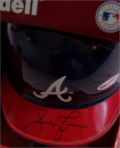 Andruw Jones autographed Atlanta Braves mini batting helmet UDA