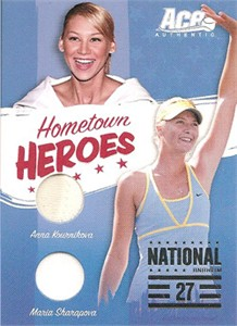 Anna Kournikova & Maria Sharapova worn tennis dress swatch 2006 Ace Authentic card