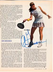 Ann Grossman autographed tennis magazine page