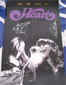 Ann Wilson and Nancy Wilson autographed HEART 11x17 mini poster