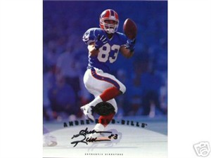 Andre Reed certified autograph Buffalo Bills 1997 Leaf 8x10 photo card