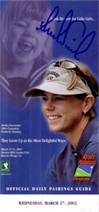 Annika Sorenstam autographed 2002 LPGA Kraft Nabisco pairings guide (rare full name signature)