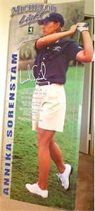 Annika Sorenstam autographed 2002 LPGA Michelob Light life size cardboard standee