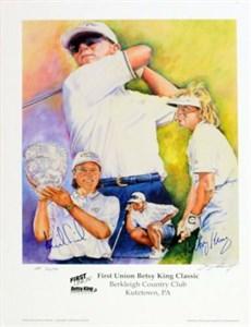 Annika Sorenstam & Betsy King autographed LPGA 18x24 lithograph ltd edit 200