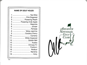 Anthony Kim autographed Augusta National Masters scorecard