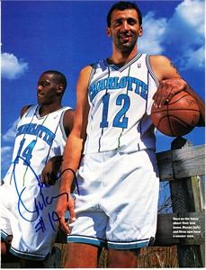 Anthony Mason autographed Charlotte Hornets full page magazine photo