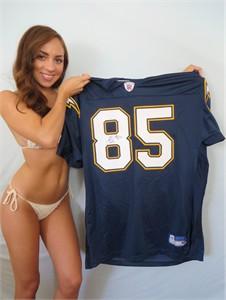 Antonio Gates autographed San Diego Chargers authentic Reebok navy blue 2003 ROOKIE SEASON jersey