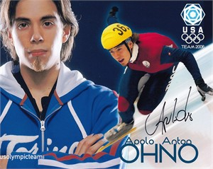 Apolo Anton Ohno autographed Team USA 8x10 promotional photo