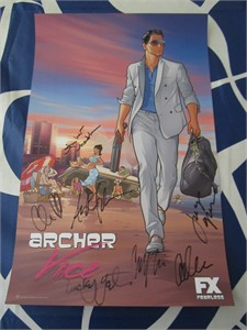 Archer cast autographed 2014 Comic-Con poster (Judy Greer Amber Nash Chris Parnell Adam Reed Aisha Tyler Lucky Yates)
