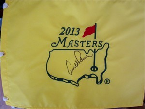 Arnold Palmer autographed 2013 Masters golf pin flag