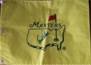 Arnold Palmer autographed Masters undated golf pin flag
