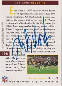 Art Monk certified autograph Washington Redskins 1992 Pro Line card