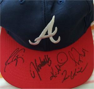 Tom Glavine Javy Lopez Greg Maddux Kevin Millwood John Smoltz autographed Atlanta Braves cap or hat