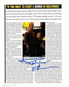 Austin O'Brien autographed Last Action Hero magazine photo (with Arnold Schwarzenegger)