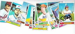 Lot of 13 autographed 1979 Topps baseball cards (Joaquin Andujar Paul Blair Ed Kranepool Ray Knight Lee Lacy Jim Sundberg)