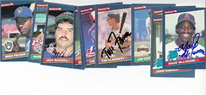 Lot of 11 different autographed 1986 Donruss baseball cards (Mark McLemore Jeff Russell)